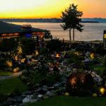 Sunset overlooking gardens and ocean